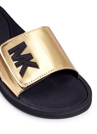 Detail View - Click To Enlarge - Michael Kors - 'MK' logo metallic strap slide sandals