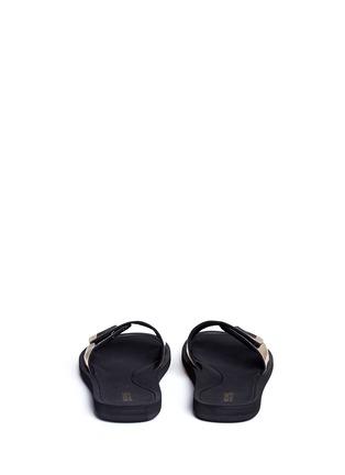Back View - Click To Enlarge - Michael Kors - 'MK' logo metallic strap slide sandals