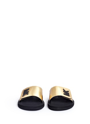 Front View - Click To Enlarge - Michael Kors - 'MK' logo metallic strap slide sandals
