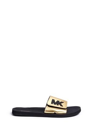 Main View - Click To Enlarge - Michael Kors - 'MK' logo metallic strap slide sandals