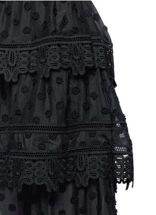 Detail View - Click To Enlarge - self-portrait - 'Ivy' floral appliqué lace trim ruffle midi dress