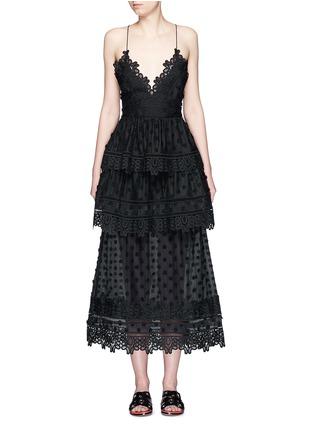 Main View - Click To Enlarge - self-portrait - 'Ivy' floral appliqué lace trim ruffle midi dress