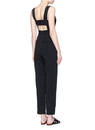 Back View - Click To Enlarge - self-portrait - 'Lulu' pintuck cutout crepe jumpsuit