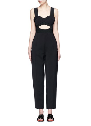Main View - Click To Enlarge - self-portrait - 'Lulu' pintuck cutout crepe jumpsuit
