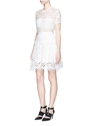 Figure View - Click To Enlarge - self-portrait - Floral satin lace A-line dress