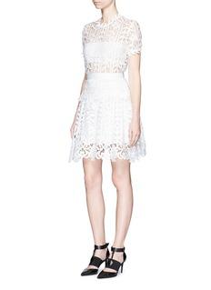 self-portraitFloral satin lace A-line dress