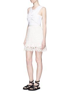 SELF-PORTRAITGeometric floral lace skirt