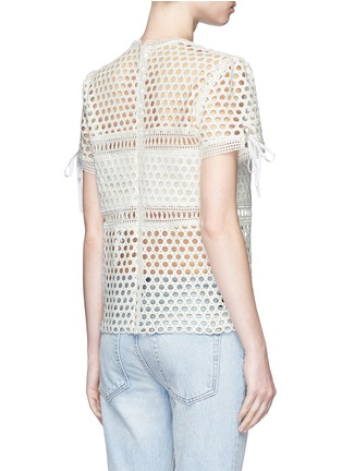 self-portrait - Ribbon cuff panelled lace top