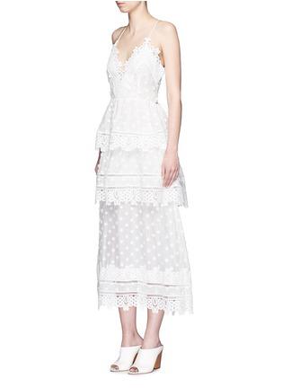 Front View - Click To Enlarge - self-portrait - 'Ivy' floral appliqué lace trim ruffle midi dress