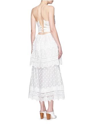 Figure View - Click To Enlarge - self-portrait - 'Ivy' floral appliqué lace trim ruffle midi dress