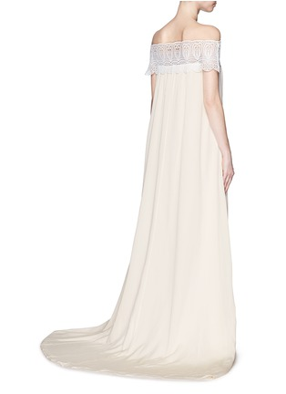 Back View - Click To Enlarge - self-portrait - Guipure lace off-shoulder silk wedding gown