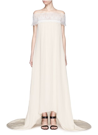 Main View - Click To Enlarge - self-portrait - Guipure lace off-shoulder silk wedding gown