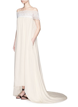 Figure View - Click To Enlarge - self-portrait - Guipure lace off-shoulder silk wedding gown