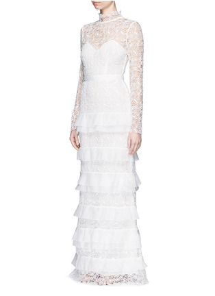 Front View - Click To Enlarge - self-portrait - 'Primrose' organza frill tier lace wedding gown