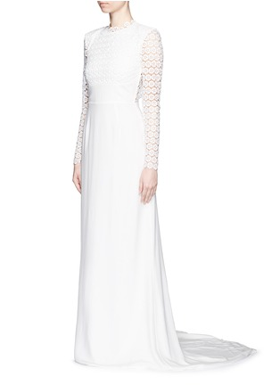 Front View - Click To Enlarge - self-portrait - 'Eva' backless silk charmeuse lace wedding gown