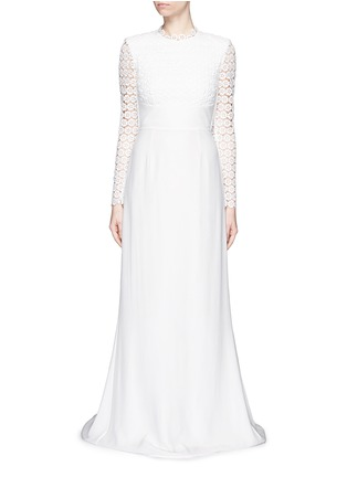 Main View - Click To Enlarge - self-portrait - 'Eva' backless silk charmeuse lace wedding gown