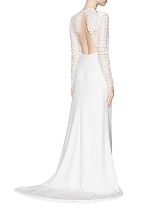 Figure View - Click To Enlarge - self-portrait - 'Eva' backless silk charmeuse lace wedding gown