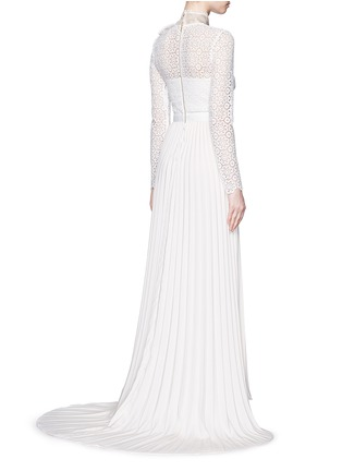 Back View - Click To Enlarge - self-portrait - Pussybow long sleeve lace pleated wedding gown