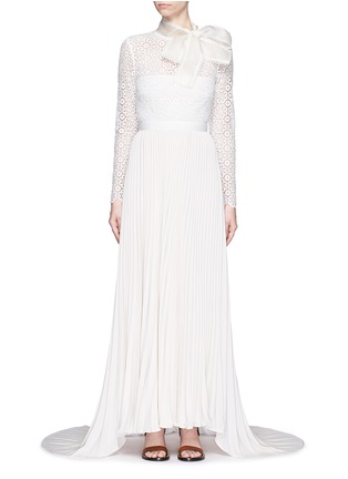Main View - Click To Enlarge - self-portrait - Pussybow long sleeve lace pleated wedding gown