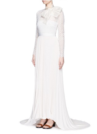 Figure View - Click To Enlarge - self-portrait - Pussybow long sleeve lace pleated wedding gown