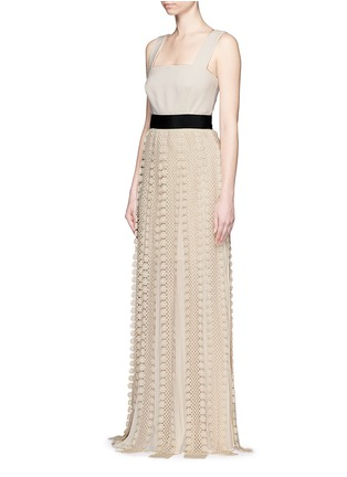Figure View - Click To Enlarge - self-portrait - Floral diamond lace skirt crepe maxi dress
