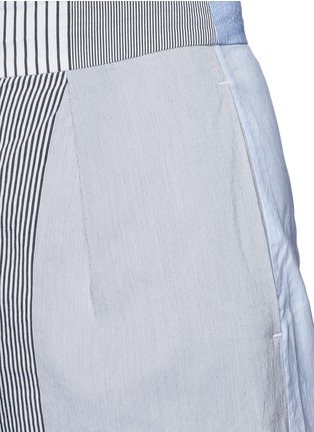 Detail View - Click To Enlarge - Ports 1961 - Mix patchwork stripe poplin wide leg pants