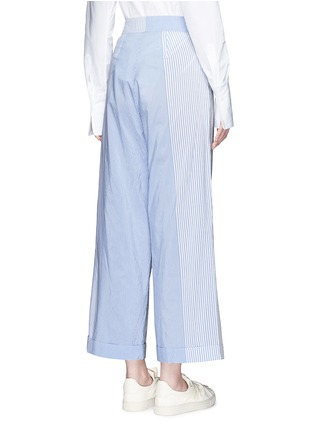 Back View - Click To Enlarge - Ports 1961 - Mix patchwork stripe poplin wide leg pants