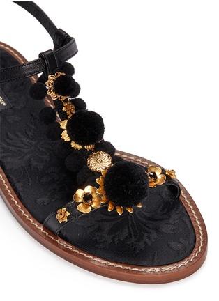 Detail View - Click To Enlarge - Dolce & Gabbana - Pompom floral appliqué T-strap leather sandals