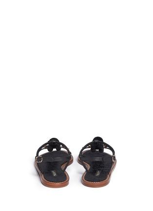 Dolce & Gabbana-Pompom floral appliqué T-strap leather sandals