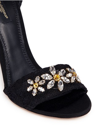 Detail View - Click To Enlarge - Dolce & Gabbana - ''Keira' rhinestone daisy Taormina lace sandals