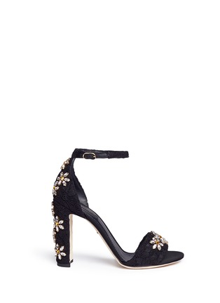 Main View - Click To Enlarge - Dolce & Gabbana - ''Keira' rhinestone daisy Taormina lace sandals