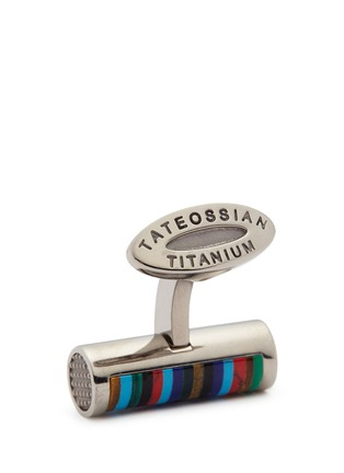 Detail View - Click To Enlarge - Tateossian - 'Bamboo Cylinder Stripe' gemstone inlay titanium cufflinks