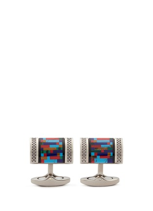 Main View - Click To Enlarge - Tateossian - 'Bamboo D-shape' gemstone inlay titanium cufflinks