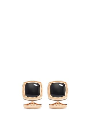 Tateossian - Onyx rose gold plated sterling silver cufflinks