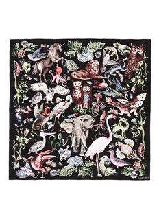 VALENTINO'Fantastic Animals' print silk twill scarf