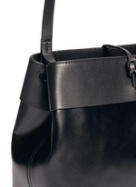 Tie top leather crossbody bag