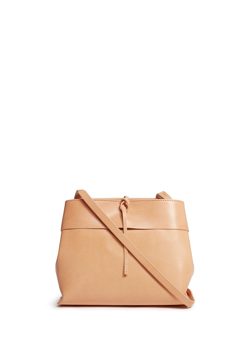 Tie top leather crossbody bag by Kara