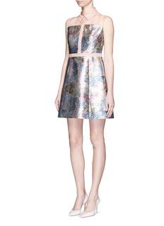 DELPOZOSilk organdy metallic floral shirt dress