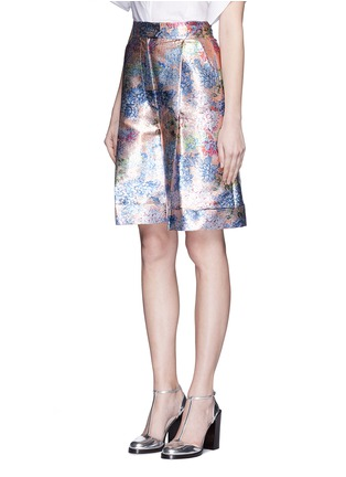 Front View - Click To Enlarge - DELPOZO - Floral pleat metallic shorts
