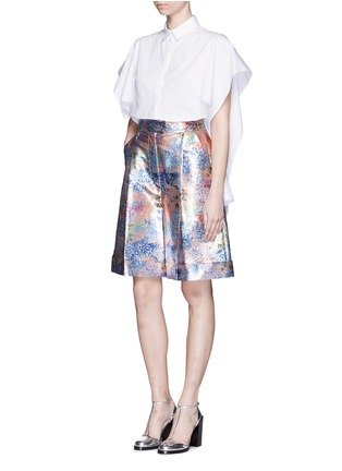 Figure View - Click To Enlarge - DELPOZO - Floral pleat metallic shorts