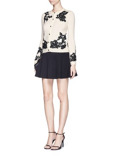 ALICE + OLIVIA'Cherrie' floral embroidery wool cardigan