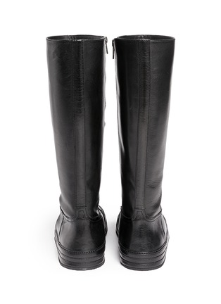 Back View - Click To Enlarge - ANN DEMEULEMEESTER SHOES - 'Triad' sneaker front leather knee high boots