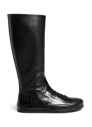 Main View - Click To Enlarge - ANN DEMEULEMEESTER SHOES - 'Triad' sneaker front leather knee high boots