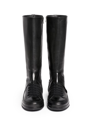 Figure View - Click To Enlarge - ANN DEMEULEMEESTER SHOES - 'Triad' sneaker front leather knee high boots