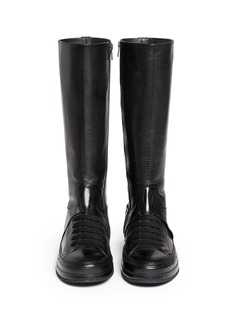 ANN DEMEULEMEESTER'Triad' sneaker front leather knee high boots