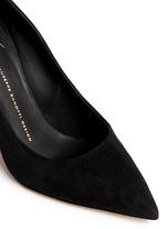 'Yvette' crystal pavé heel suede pumps