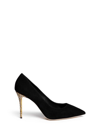 Main View - Click To Enlarge - Giuseppe Zanotti Design - 'Yvette' crystal pavé heel suede pumps