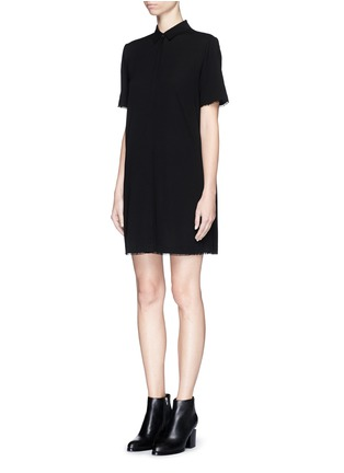 Front View - Click To Enlarge - T By Alexander Wang - Silk collared shirt dress
