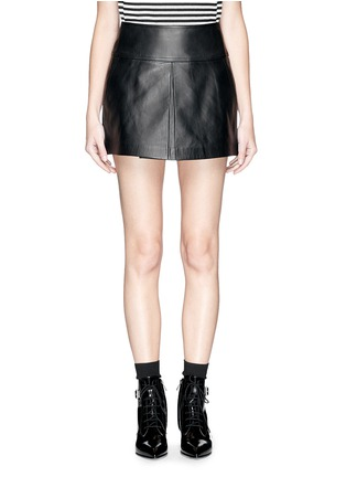 Main View - Click To Enlarge - T By Alexander Wang - Box pleat leather skirt