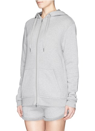 Front View - Click To Enlarge - T By Alexander Wang - Heavy French terry logo zip hoodie